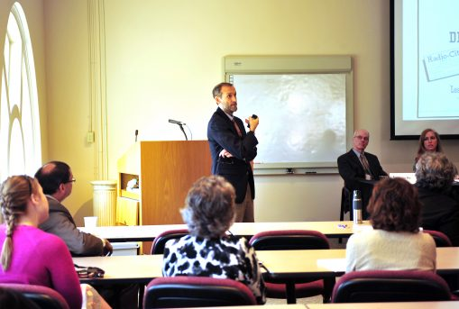 Dr. Clark Hultquist speaks at the Faculty Research Symposium